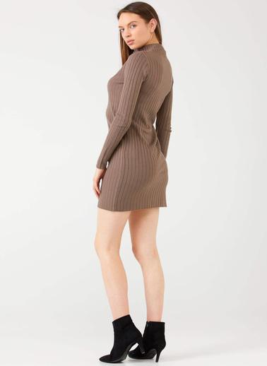 Sementa Yarım Fermuarlı Kısa Kadın Triko Elbise - Vizon Vizon